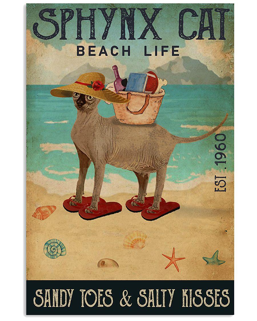 Beach Life Sandy Toes Sphynx cat 11x17 Poster