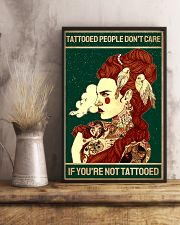 Retro Green Tattooed People Don't Care 11x17 Poster lifestyle-poster-3