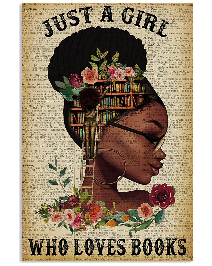 Who Loves Books Glasses Black Girl Reading 16x24 Poster