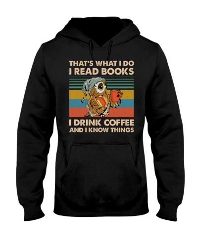 Owl I Read Books I Drink Coffee Retro Blue