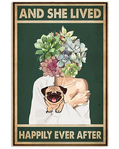 She Lived Happily Pug Succulents