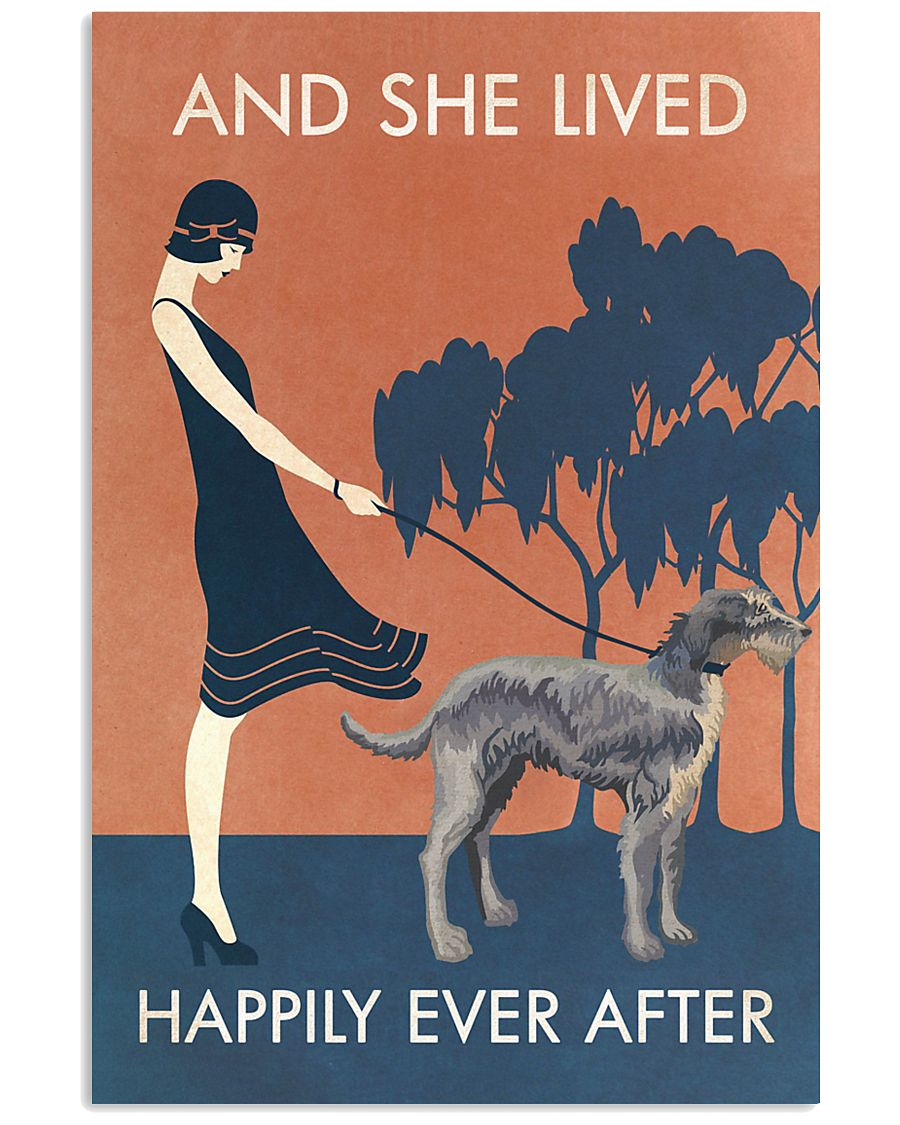 Vintage Girl Lived Happily Irish Wolfhound 11x17 Poster