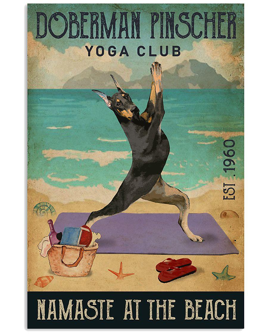 Beach Yoga Club Doberman Pinscher 11x17 Poster