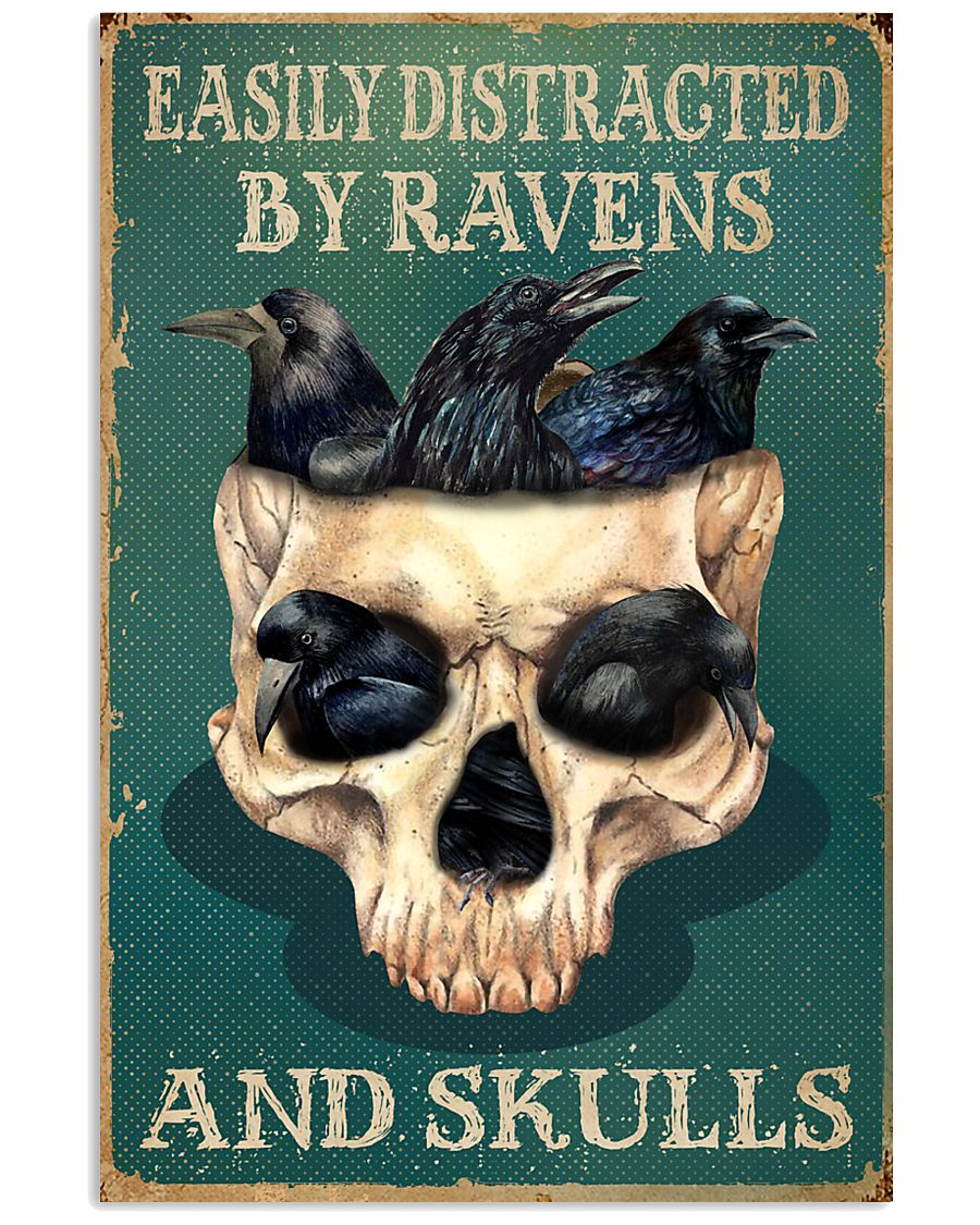 Retro Teal Easily Distracted Ravens And Skulls 11x17 Poster