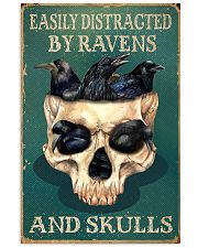 Retro Teal Easily Distracted Ravens And Skulls 11x17 Poster front