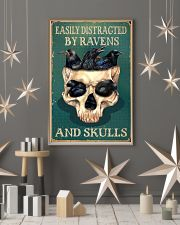 Retro Teal Easily Distracted Ravens And Skulls 11x17 Poster lifestyle-holiday-poster-1