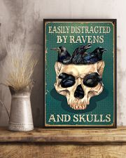 Retro Teal Easily Distracted Ravens And Skulls 11x17 Poster lifestyle-poster-3