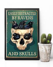 Retro Teal Easily Distracted Ravens And Skulls 11x17 Poster lifestyle-poster-8