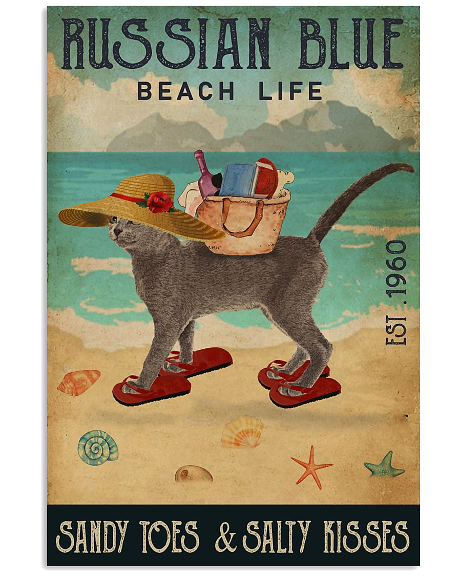 Beach Life Sandy Toes Russian Blue 11x17 Poster