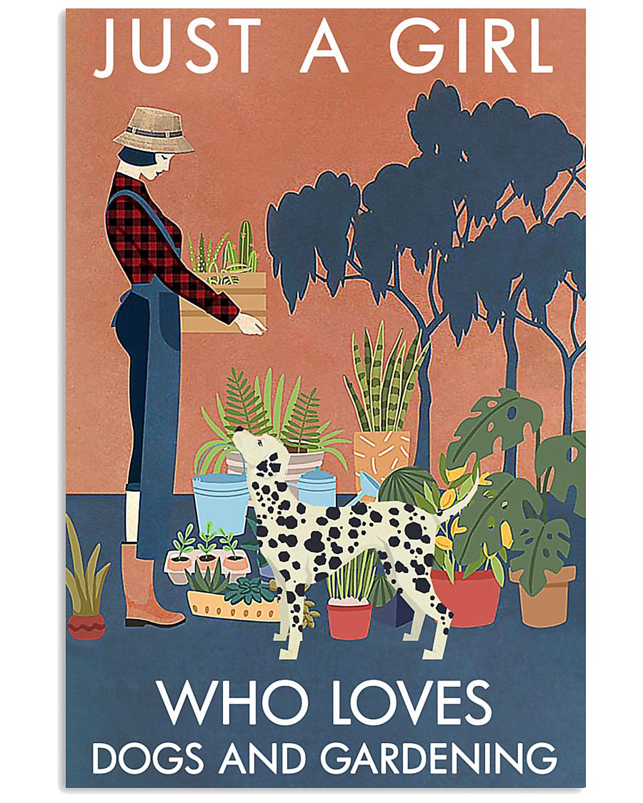Vintage Just A Girl Loves Gardening And Dalmatian 11x17 Poster