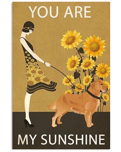 Sunflower Vintage Girl Sunshine Golden Retriever