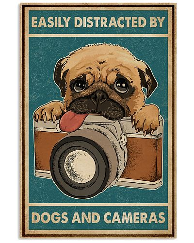 Retro Teal Easily Distracted Camera And Dogs Pug