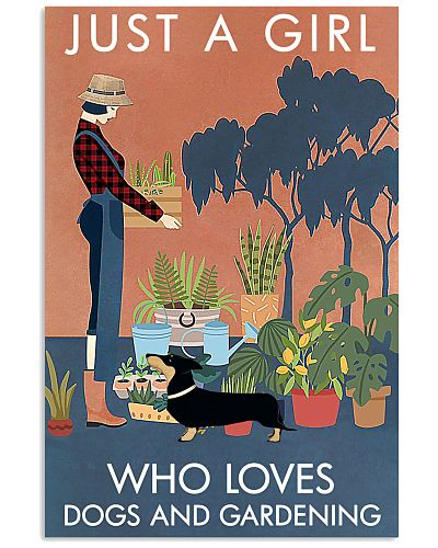 Vintage Just A Girl Loves Gardening And Dachshund