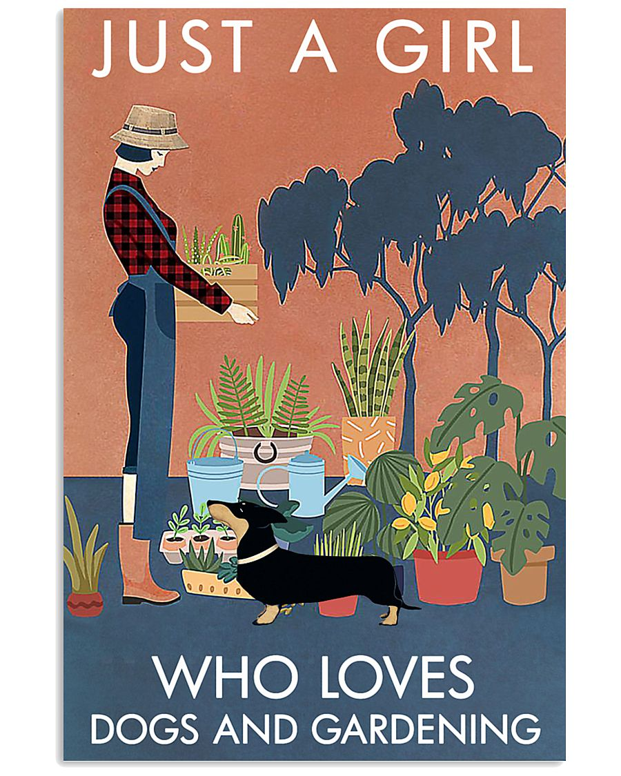Vintage Just A Girl Loves Gardening And Dachshund 11x17 Poster