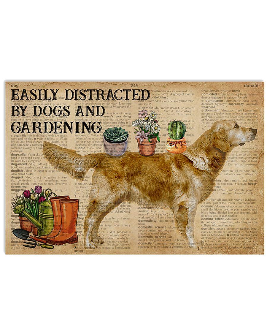 Dictionary Distracted Golden Retriever Gardening 17x11 Poster