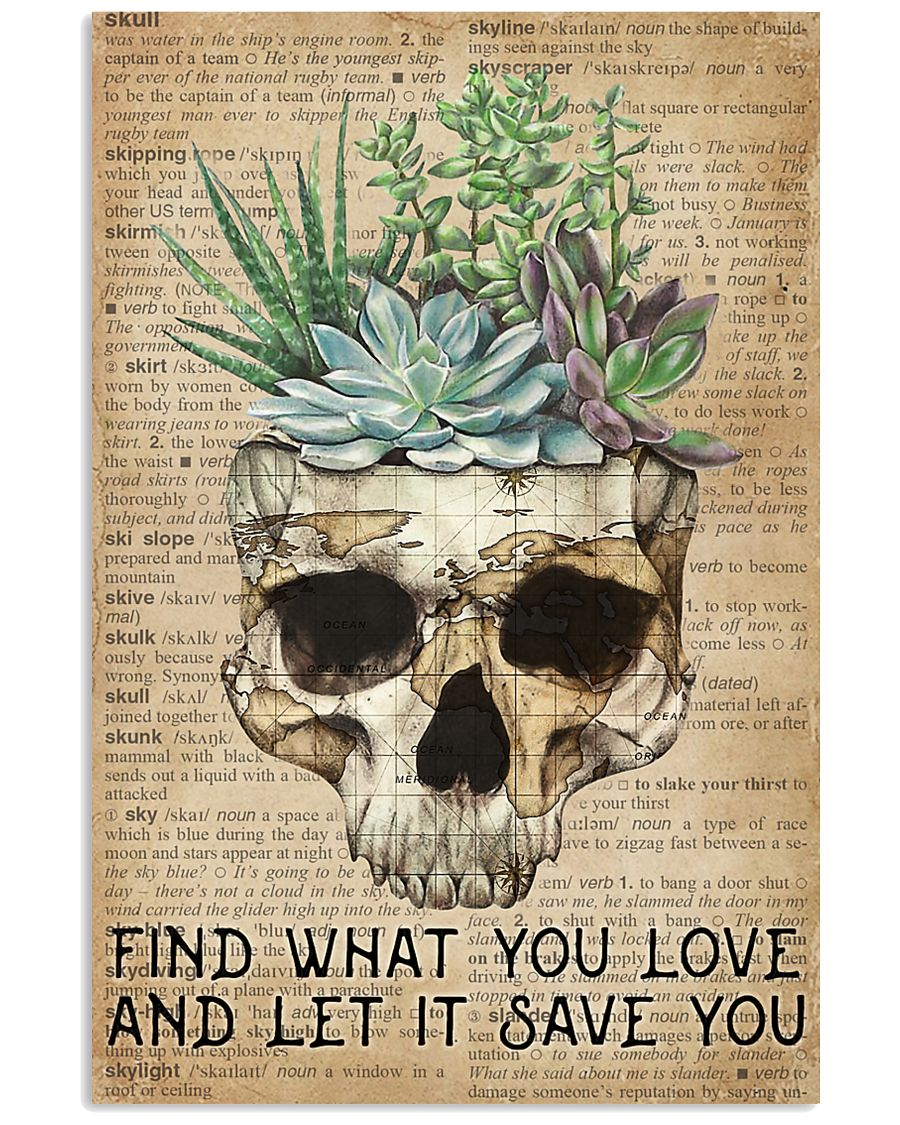 Vintage Dictionary Find You Love Skull Succulent 11x17 Poster
