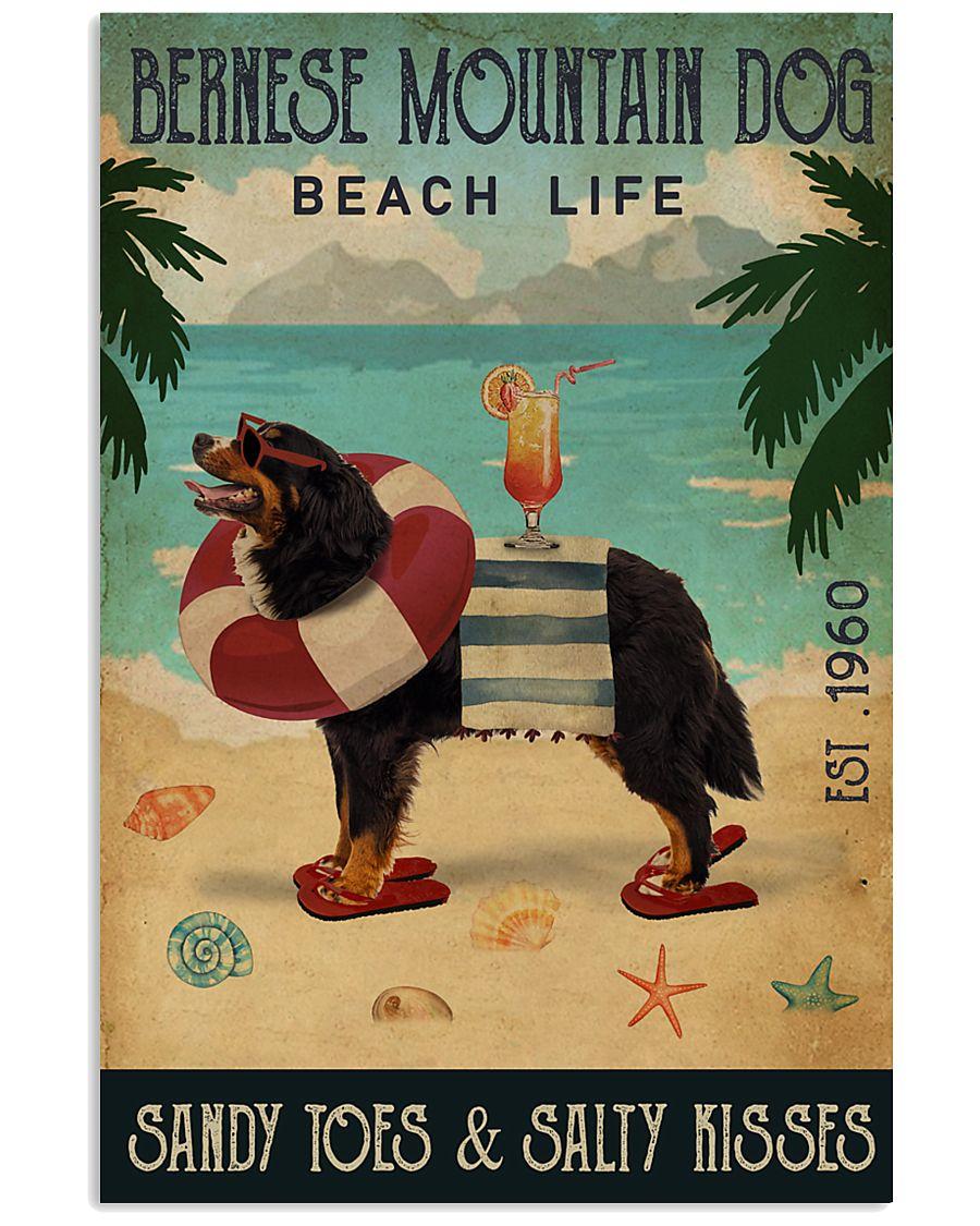 Vintage Beach Cocktail Life Bernese Mountain Dog 16x24 Poster