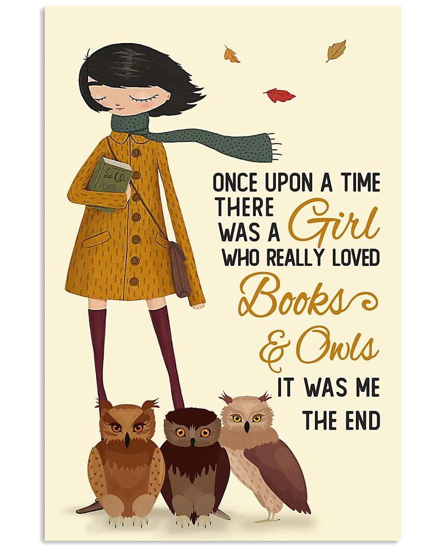 Autumn Girl Once Upon A Time Owls Reading 16x24 Poster
