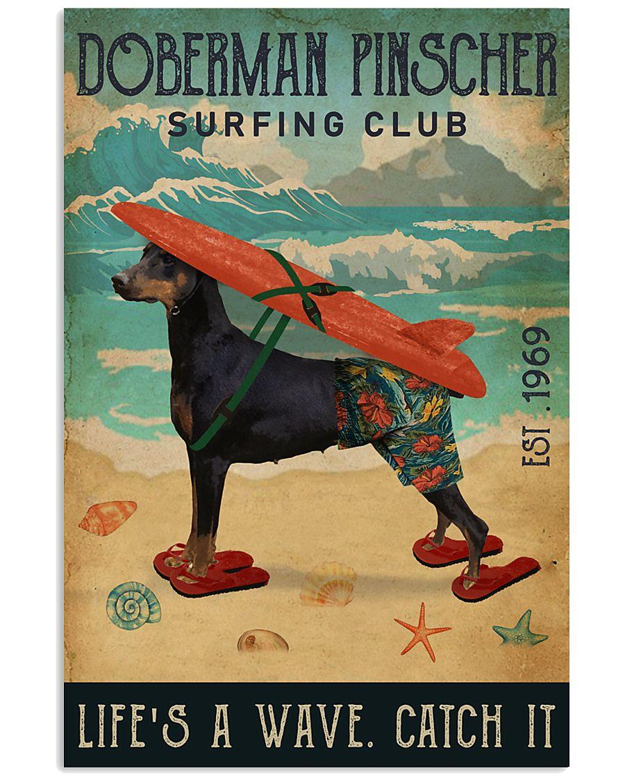 Surfing Club Doberman Pinscher  11x17 Poster