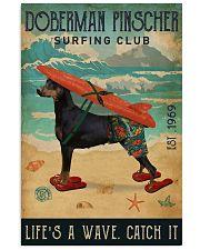 Surfing Club Doberman Pinscher  11x17 Poster front