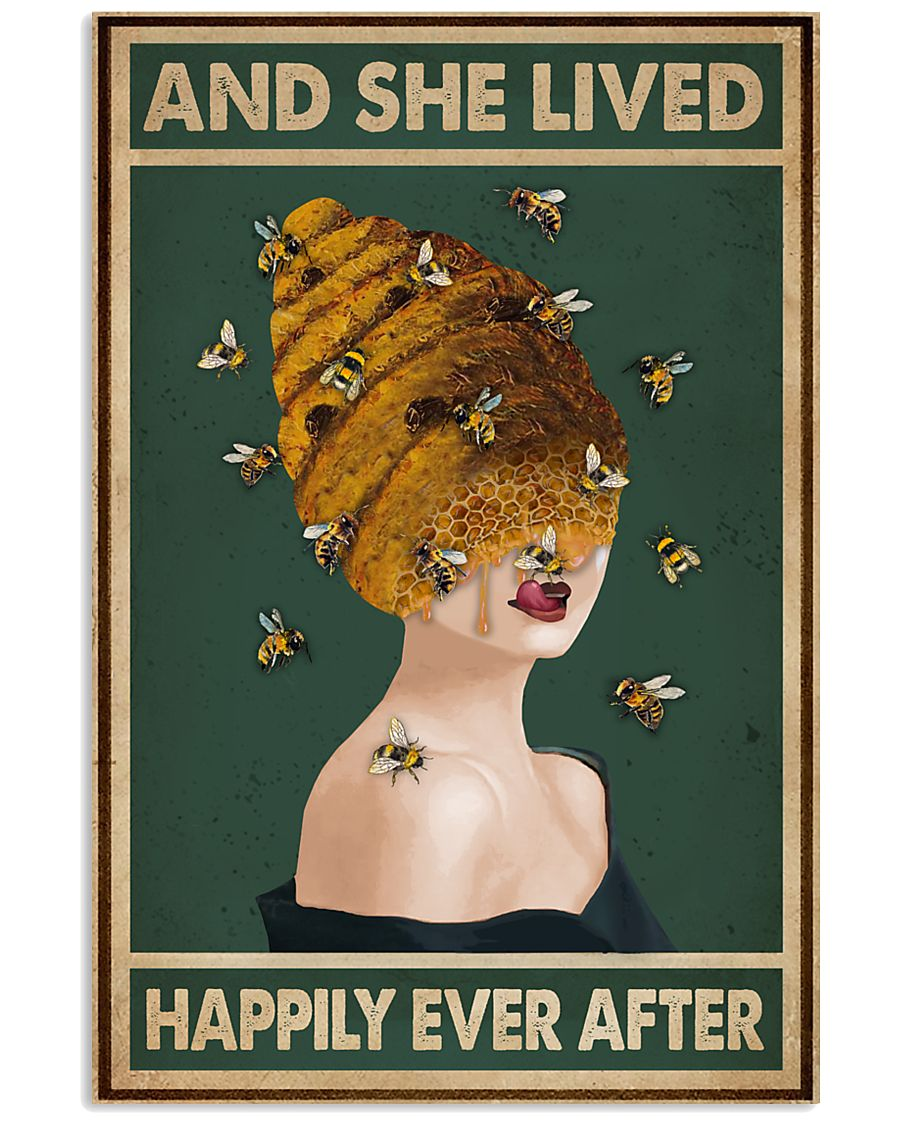 Retro Green Lived Happily Honey Bee Lady 11x17 Poster