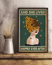 Retro Green Lived Happily Honey Bee Lady 11x17 Poster lifestyle-poster-3