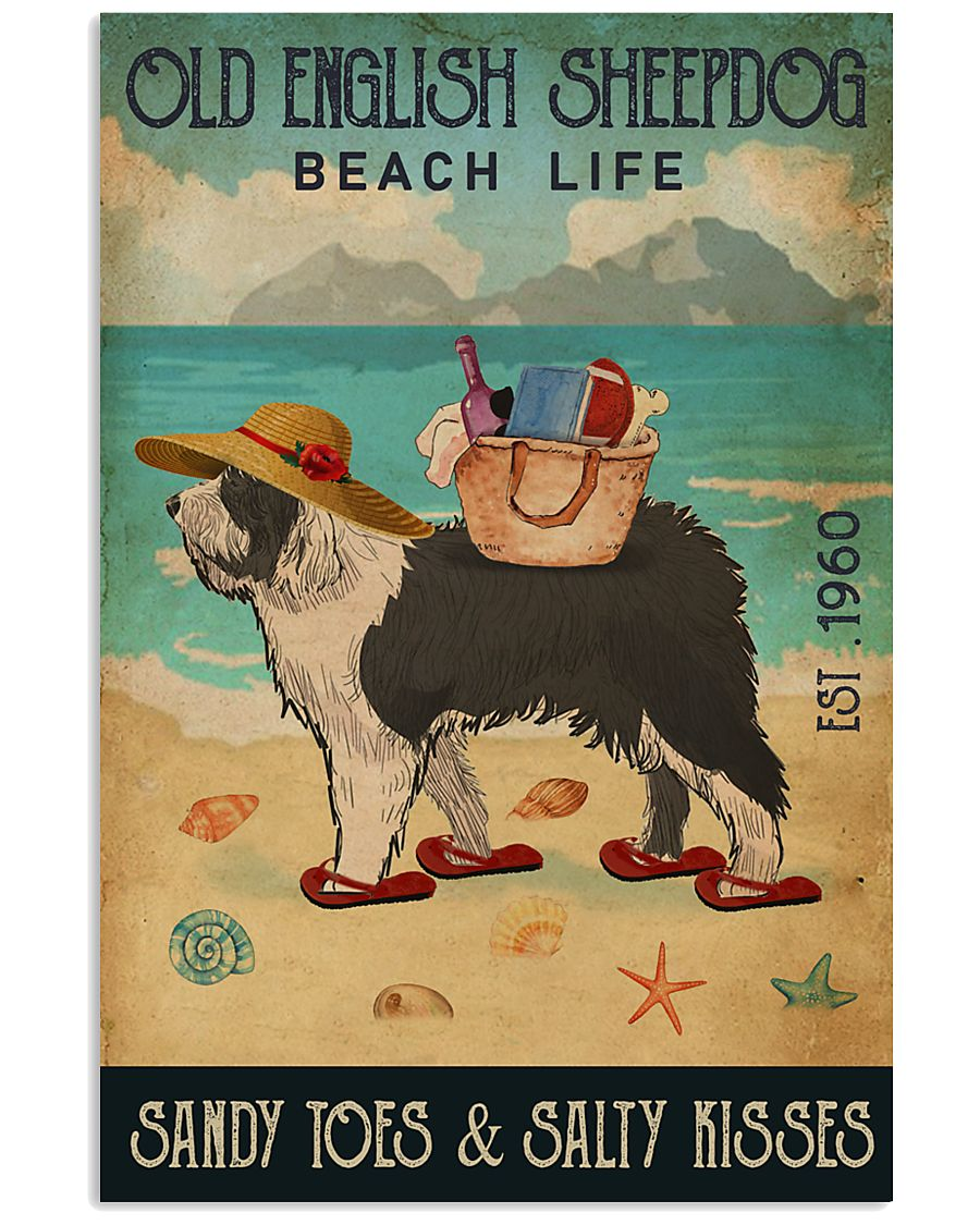 Beach Life Sandy Toes Old English Sheepdog 11x17 Poster