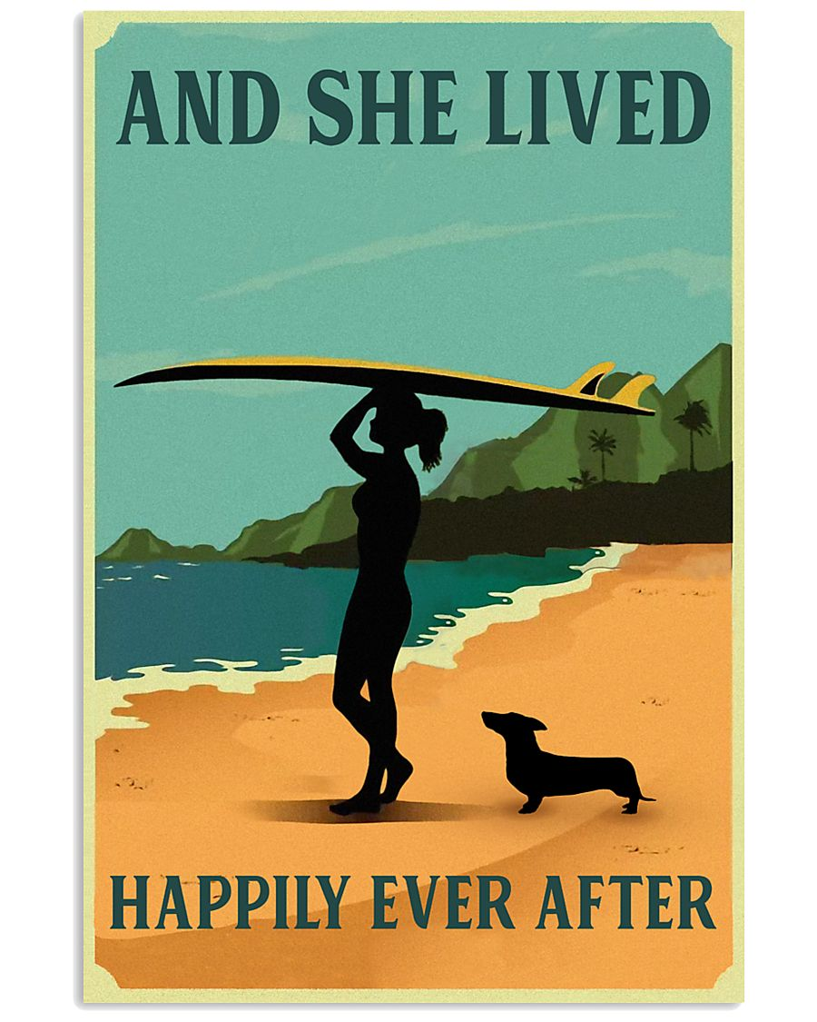 Vintage She Lived Happily Surfing Girl Dachshund 11x17 Poster