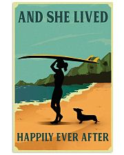 Vintage She Lived Happily Surfing Girl Dachshund 11x17 Poster front