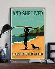 Vintage She Lived Happily Surfing Girl Dachshund 11x17 Poster lifestyle-poster-2