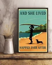 Vintage She Lived Happily Surfing Girl Dachshund 11x17 Poster lifestyle-poster-3