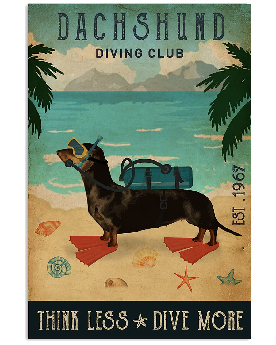 Vintage Diving Club Dachshund 16x24 Poster
