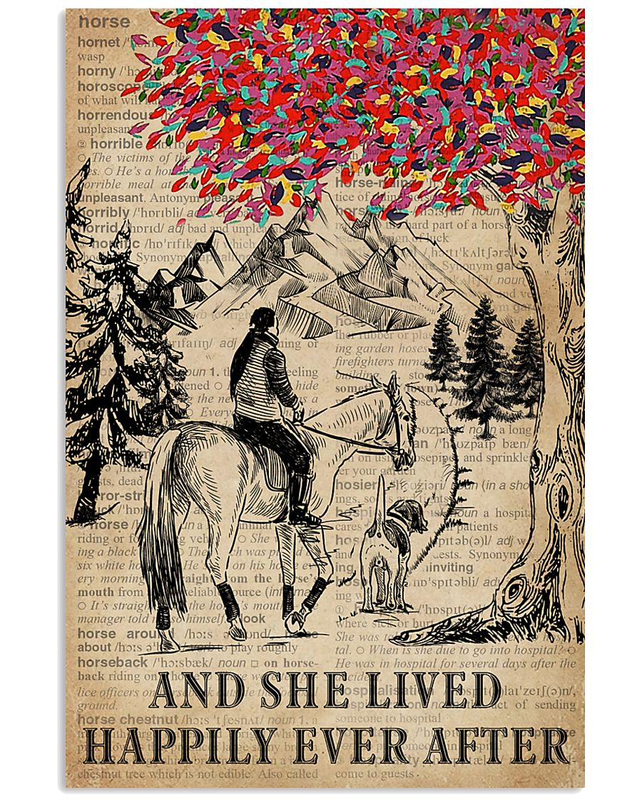 She Lived Happily Horse Dog Dictionary 11x17 Poster