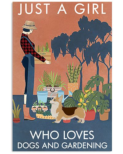 Vintage Just A Girl Loves Gardening And Corgi