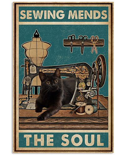 Retro Teal Sewing Mends The Soul Black Cat