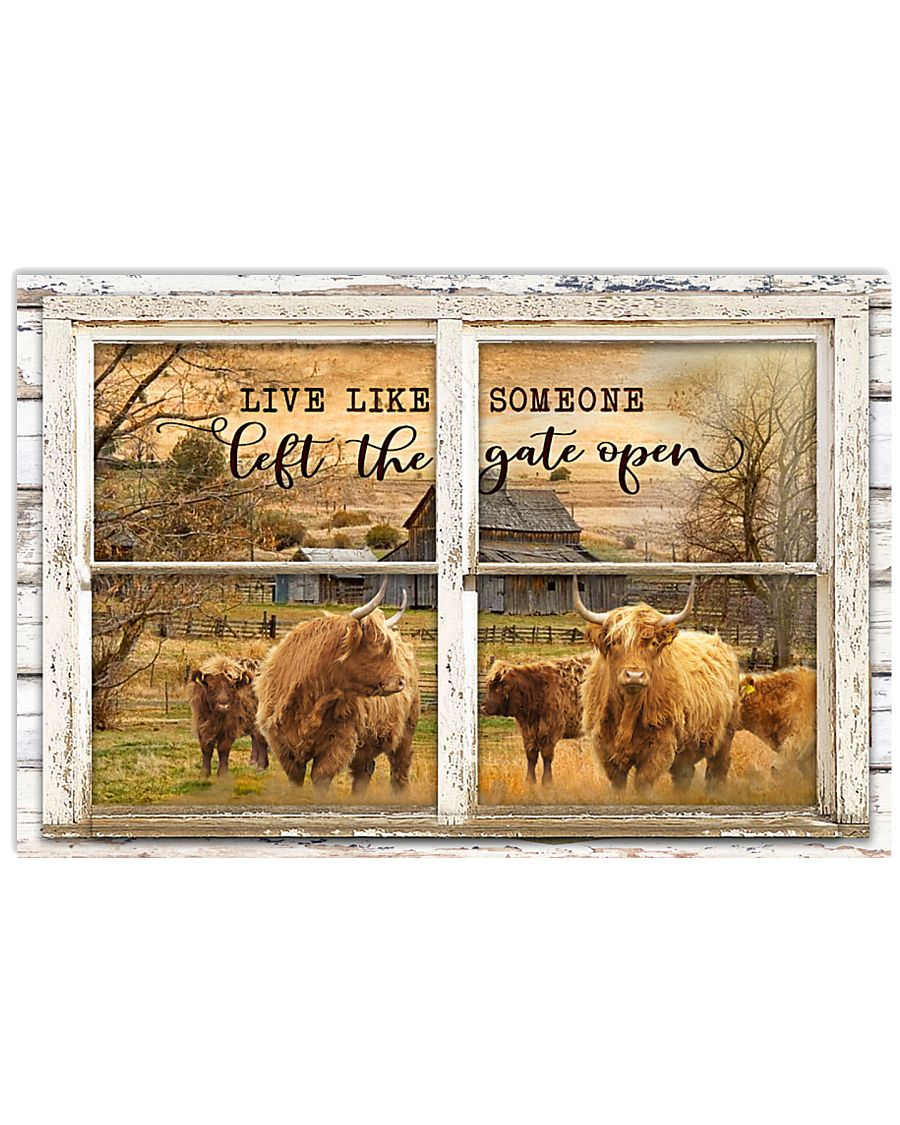 Window The Gate Open Highland Cattle 24x16 Poster