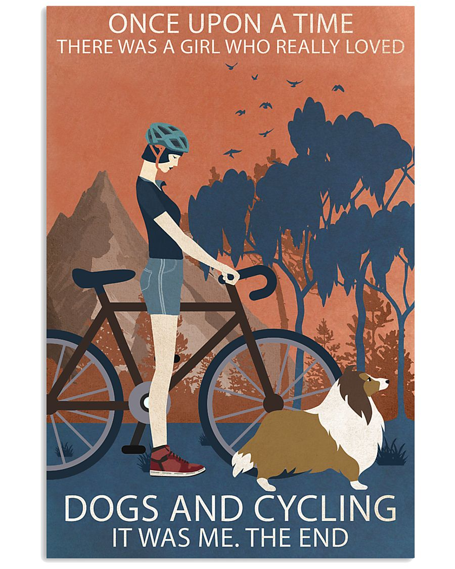 Vintage Once Upon A Time Shetland Sheepdog Cycling 11x17 Poster