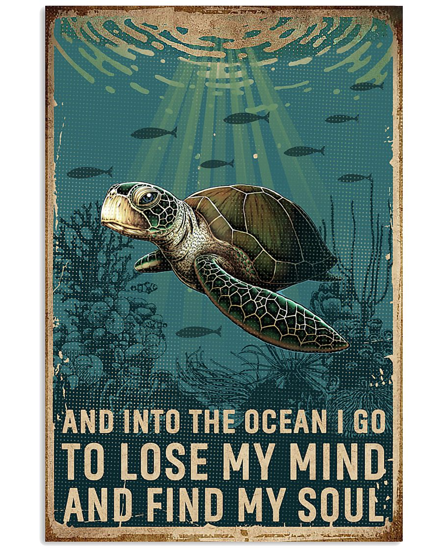 Retro Ocean Find My Soul Sea Turtle 11x17 Poster