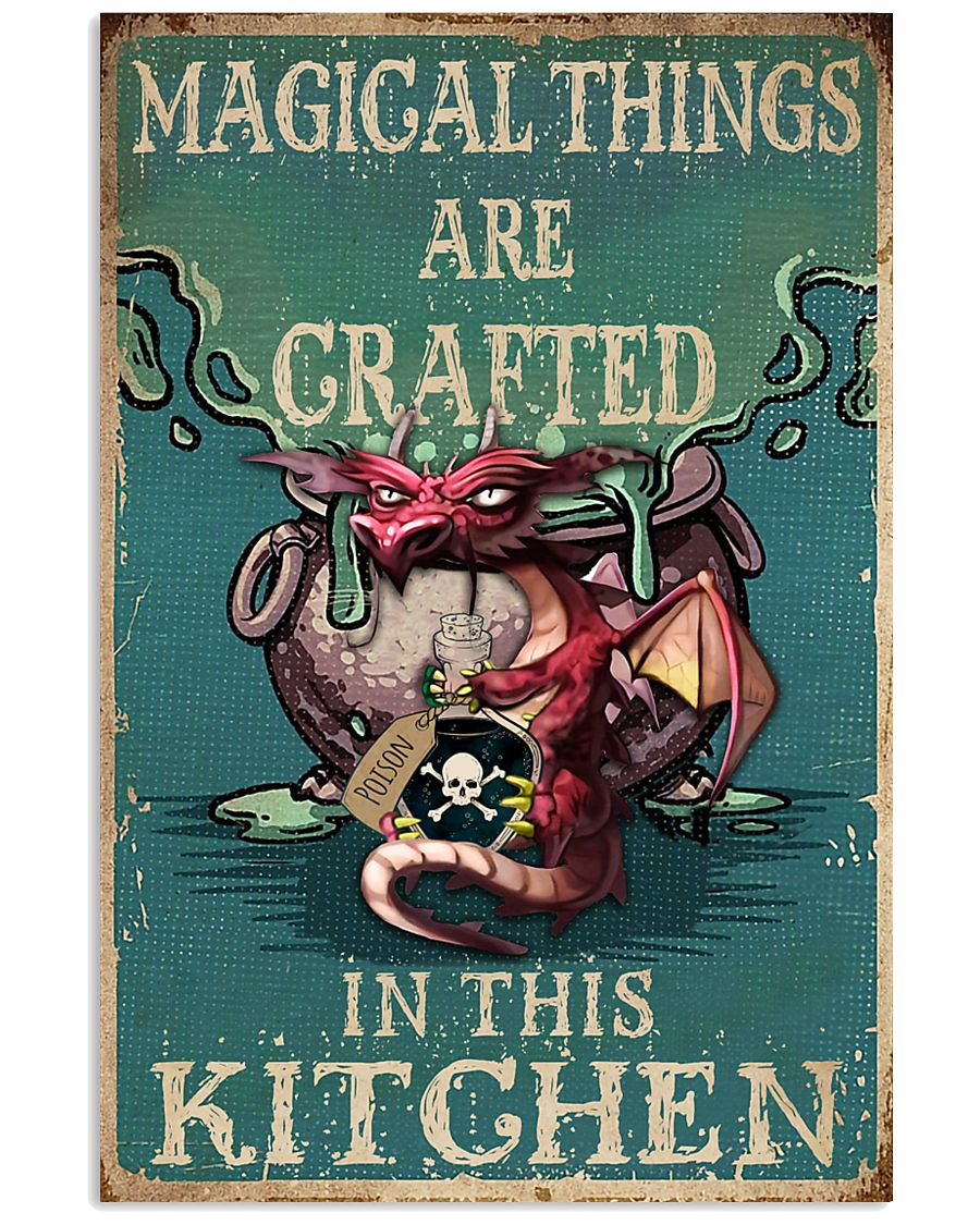 Retro Teal Magical Things Kitchen Dragon Witch 11x17 Poster