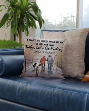 Personalized Fishing I Want To Hold Your Hand Square Pillowcase aos-pillow-square-front-lifestyle-02