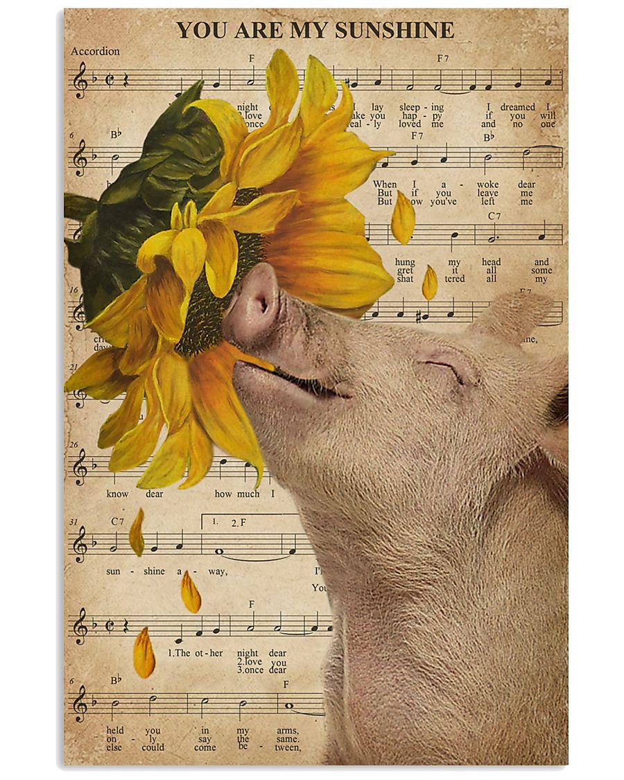 Music Sheet Sunflower My Sunshine Pig 16x24 Poster