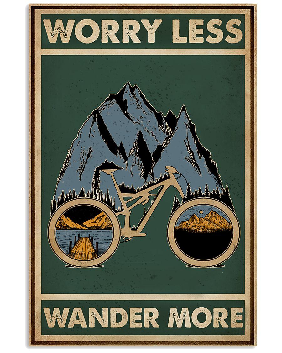 Retro Green Worry Less Cycling 11x17 Poster