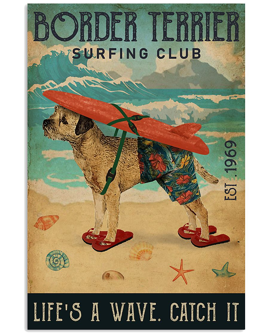 Surfing Club Border Terrier 11x17 Poster