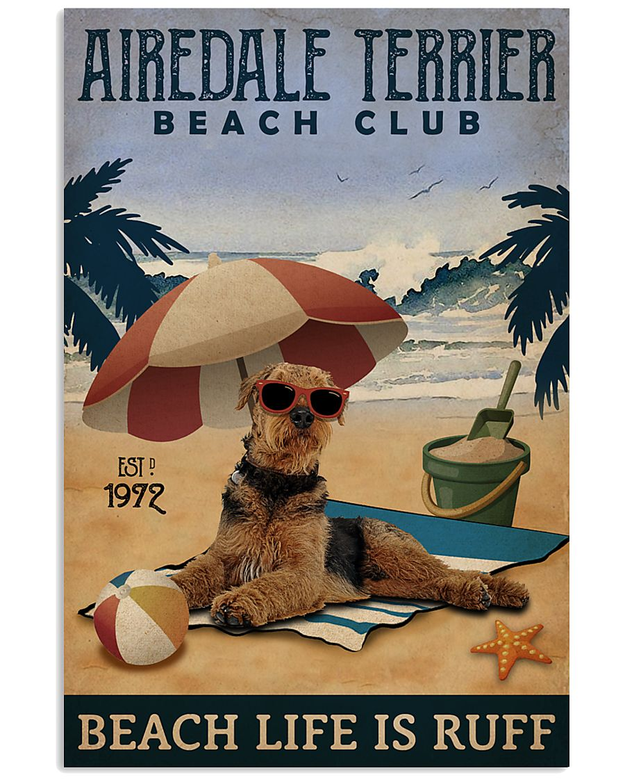 Vintage Beach Club Is Ruff Airedale Terrier 11x17 Poster