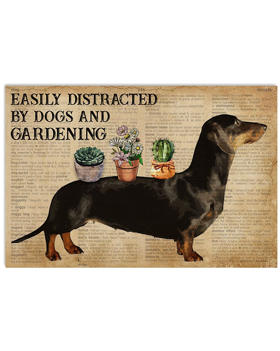 Dictionary Distracted By Dachshund And Gardening 24x16 Poster