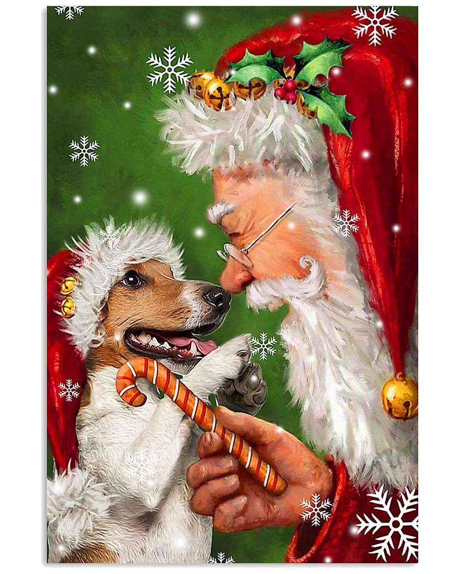 Jack Russell Smile With Santa Christmas 11x17 Poster