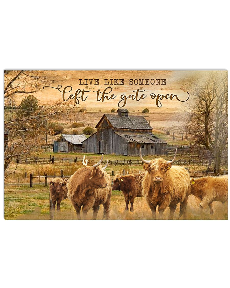 Highland Cattle Let The Gate Open 24x16 Poster
