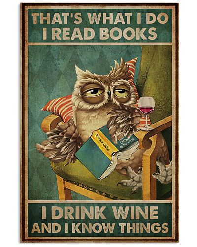 Read Books And Drink Wine Owl