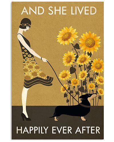 Sunflower Vintage Girl Lived Happily Dachshund