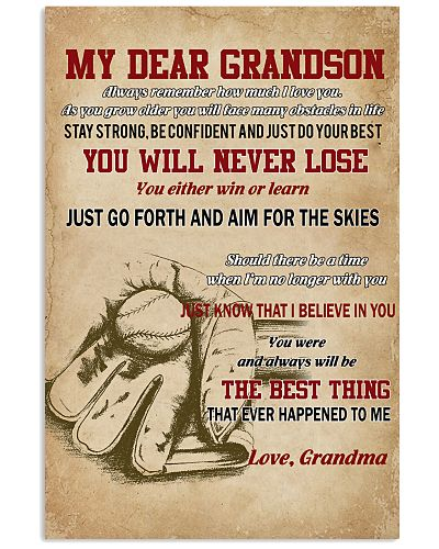 My Dear Grandson You Will Never Lose Baseball